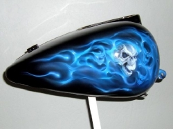 Blue Real Fire Skulls on Black Picture
